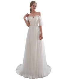 $enCountryForm.capitalKeyWord UK - Sexy Off Shoulder Boho Wedding Dresses Spots Tulle A Line Beach Wedding Dress Bridal Gown Floor Length