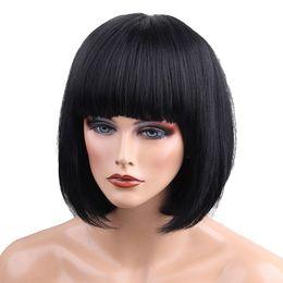 $enCountryForm.capitalKeyWord UK - Lady Real Human Hair Wig Black Bob Wig Hairpieces Flat Bangs 13 inch Heat OK>>>>Free shipping New High Quality Fashion Picture wig