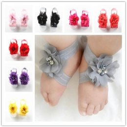 BaBy toddler Barefoot sandals online shopping - Toddler Baby Chiffon Water Drill Flower Foot Belt Set Sandals Flower Barefoot Foot Infant First Walker Shoes Photography Props hot A32003