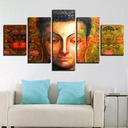 $enCountryForm.capitalKeyWord Australia - Modern Modular Vintage HD Printed Framework Pictures Home Decoration Paintings On Canvas 5 Panel Buddha Wall Artwork For Living Room