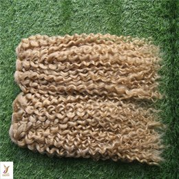 Toptan satış # 60 Platin Sarışın Renk Moğol Sapıkça Kıvırcık Saç Örgü Demetleri 10-28 Inç 100% İnsan Saç Dokuma 6a Işlenmemiş Çift Atkı Bakire Saç