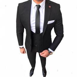 Piece Suits Designs Blue Color Australia - Latest Coat Pant Designs Black Color Two Buttons Casual Men Suit Slim Fit 3 Pieces Formal Tuxedo Custom Prom Party Blazer best