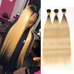 Two Tone colored ombre sTraighT hair online shopping - Ombre Hair Bundles B Honey Blonde Malaysian Straight Hair Bundles Human Hair Bundle Deals Two Tone Colored Inch Remy Beyo