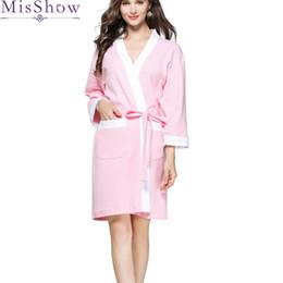 e78f590f5b Female Spring Summer 2019 New Waffle Robe Solid Color Women Kimono Bathrobe  Gown 100% Cotton Top Quality Night Dress Sleepwear