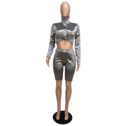 $enCountryForm.capitalKeyWord NZ - Women Silver Nightclub Two Piece Pants Set Long Sleeve Turtleneck Crop Top + Bodycon Shorts 2 Piece Outfits Autumn Clubwear Suit