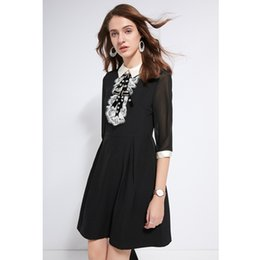 a982154bae9 black dress for woman rhinestone beaded white lace bib peter pan collar 3 4  sleeve a line knee length mori girl retro dress