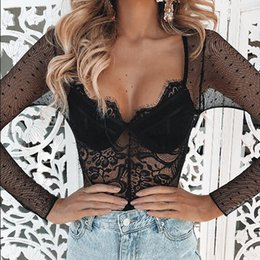sexy long sleeve black jumpsuit NZ - Sexy Lace Embroidery Polka Dot Perspective Romper Women Jumpsuit Summer Vintage Femme Long Sleeve Bodysuit 2019