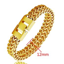 18k Gold Hand Chain Australia - Luxury Mens 18K Yellow Gold Hand link Chain Bracelet Men Punk Stainless Steel Cuba Chain Bangle Bracelets party Jewelry