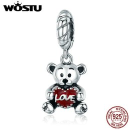 bangle bear Canada - WOSTU 100% 925 Sterling Silver Animal Collection Little Bear with Love Hug Charm fit Charm Bracelet Bangle DIY Jewelry CQC521