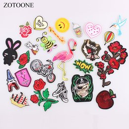 $enCountryForm.capitalKeyWord Australia - ZOTOONE Embroidery Patches for Clothing Flamingo Animal Flower Skull Letter Motorcycle Biker Patch Iron On patch DIY Stickers E