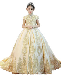 prom beauty pageant dresses 2020 - Beauty Girl's Pageant Dresses Champagne Applique Beads Flower Girl Dresses Princess Party Prom Dresses Child Skirt