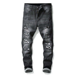 Mens Long Cotton Trousers Australia - Hi-Street Mens Distressed Biker Jeans Skull Patchwork Pleated Ripped Denim Joggers Black Slim Fit Trousers With Patches denim long pants