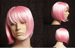 Kanekalon Lace Wigs NZ - FREE SHIPPING + Pink Blunt Bob Short Wigs Party Lady Kanekalon Salon Hairstyle cosplay wig no Lace Front queen brazilian made wigs