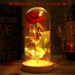 Novelty Plastic Glasses Wholesale Australia - LED Rose Flowers Glass Cover 2 Colors Eternal Love Preserved Natural Gifts Novelty Items Xmas Decor 50pcs OOA6124