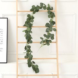fake window wall 2020 - Eucalyptus wedding decoration 2m 6.56ft Green Silk Leaves Plastic Vine Artificial Fake Plants Wreath Wall Ivy Arch Decor