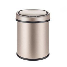 Steel Induction Australia - 8L Automatic Trash Can Touchless Intelligent Induction Garbage Bin With Inner Bucket Contactless Circulator Quiet Lid Close Can Gold