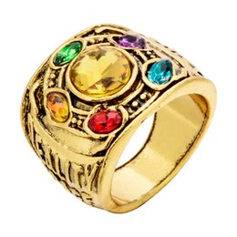 Wholesale Mens jewelry rings Marvel Avengers thanos luxury rings men Gauntlet bague homme anillos mujer women crystal Jewelry Color Gold Ring