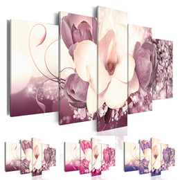 $enCountryForm.capitalKeyWord NZ - Fashion Wall Pictures for Living Room Paintings 5 Piece Magnolia Flower Orchids Canvas Print Oil Painting Unframed Canvas Painting