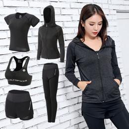 Tight Plus Sized Leggings Australia - Women Yoga Set Gym Fitness Clothes Tennis Shirt+pants Running Tight Jogging Workout Yoga Leggings Sport Suit Plus Size Y190508