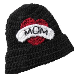 girls crochet hats UK - Crochet I Love Mom hat,Handmade Knit Baby Boy Girl Mother Day Hat,Kids Earflap Hat,Valentine Day Hat,Newborn Photo Prop