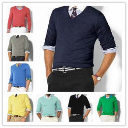 Wholesale white polo v neck for sale – oversize high quality men cotton polo sweater knitted sweater clothing small horse sweatshirt jumper fashion pullover sweater