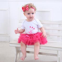 $enCountryForm.capitalKeyWord NZ - Fashion Baby Girl clothing Set Bodysuit jumsuit set Cotton Romper+6 layer tutu skirt Headbands Infant 1st Birthday Clothing suit