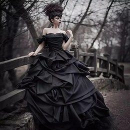 3337ad821fb 2019 New Off Shoulder Black Gothic Wedding Dresses Pick Up Satin Tiered  Pleat Lace Victorian Bridal Gowns Plus Size Corset Back Custom Made