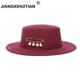 38a6fb18ae 2017 novo pin pérola chapeau femme Vintage elegante top preto sentiu chapéu  fedora homens sombrero bowler igreja trilby chapéus para mulheres # 17382