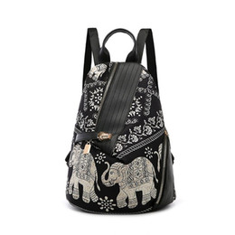 Chinese  Fashion Women Elephant-Print Shoulder Bag Backpack Colored Print Travel Rucksack Nylon Hand Bag Girls Daypack For School Journey manufacturers