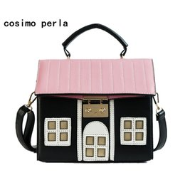 Woman Funny Bags NZ - Cute Funny House Shaped PU Crossbody Bag for Women 2019 Trendy Square Shoulder Purses Satchels Small Handbags Ladies bolsa mujer