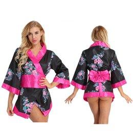 3 Pcs Femmes Japonaise École Filles Kimono Cosplay Costume Courte Lingerie Robe Satin Robe Florale avec Bowknot Ceinture Taille sexy