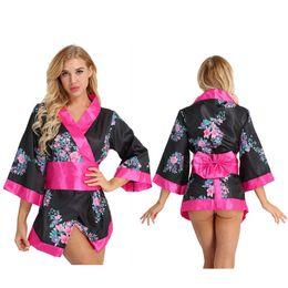 3 Stücke Frauen Japanische Schulmädchen Kimono Cosplay Kostüm Kurze Dessous Robe Satin Blumenkleid mit Bowknot Taille Gürtel sexy