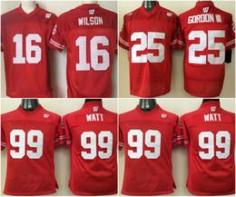 f63ec009fcd Youth Wisconsin Badgers Jerseys #99 J.J. Watt #16 Russell WILSON #25 Melvin  Gordon College Football Jerseys