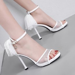 high heels sandals size 34 NZ - 2019 white meshy lace wedding shoes bridal luxury sandals women high heels 10cm size 34 To 40