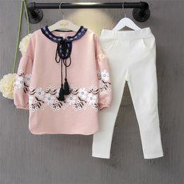 Floral Print Shirts Baby Australia - Girls spring autumn hoodies and pant 2pcs princess girl clothing set kids pink floral printed shirt and white pant casual baby