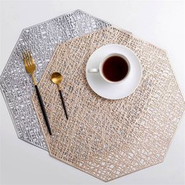simple mat 2019 - Hollow Insulation Pad Solid Color Non-slip PVC Western Food Coaster PVC Hollow Simple Heat Insulation Mats discount simp