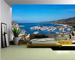 bay paintings NZ - 3d wallpaper custom photo non-woven mural wall sticker The Mediterranean Sea bay yacht painting picture 3d wall room murals wallpaper