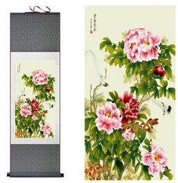 chinese flower decorations UK - Spring Flower Painting Home Office Decoration Chinese Scroll Painting Flower Art Painting