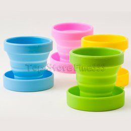 collapsible camping mug Canada - Fold Water Cup Silicone Retractable Folding Cup with Lid Outdoor Telescopic Collapsible Drinking Cup Travel Camping Water Mug