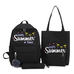 $enCountryForm.capitalKeyWord UK - Women Backpack Letter Print Canvas Shoulder Bags Clutch Pen Bags Backpacks Small Fresh Fashion Men Bag Schoolbag Set