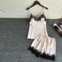 20ffc9cd0d 2019 Hot Sale womens pajamas Sexy Satin Sling Sleepwear Lingerie Lace  Bowknot Nightdress Underwear pyjama sexy femme