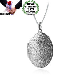 pendant oval Australia - OMHXZJ Wholesale Personality Fashion Woman Girl Gift Oval Photo Box 925 Sterling Silver 18KT Gold Charm Pendant Necklace CH50