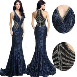 2019 in stock Elegant Gown Design Long Mermaid Evening Dresses Sexy V Neck  Beading Women Plus Size Dress Hot Sale Formal Party Gowns LX235 8eeef457f13d
