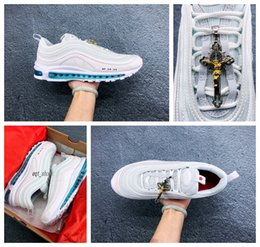 Designer water shoes online shopping - New s MSCHFs x INRIs Jesus Shoes Mens Womens running shoes Air Crucifix Wool CC Holy Water Designers Sports Outdoor Sneakers With BOX