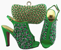 $enCountryForm.capitalKeyWord UK - Wonderful Army green women pumps and bag set with colorful crystal decoration african shoes match handbag for dress QSL005,heel 12cm