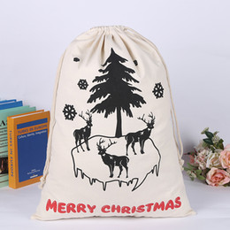 santa sacks large Australia - Christmas Gift Bag Drawstring Bag Large Organic Heavy Canvas Santa Sack for kids gifts 10 styles