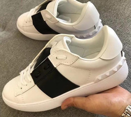 sneakers studs men 2020 - 5A Women&Men 6728 Open Casual Sneaker Shoes,Contrast calfskin stripe,Rubber stud detail at the back,Size 35-44,DHL Free