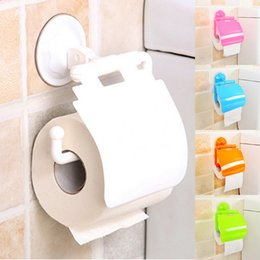 Paper Roll Dispensers Australia - wholesale Plastic Wall Mounted Suction Cup Toilet Tissue Holder Roll Paper Stand Storage Dispensers With Cover Bathroom