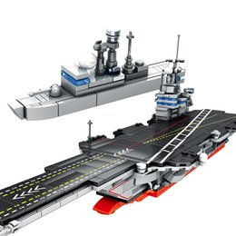 blocks police NZ - SEMBO 716pcs City Police WW2 Aircraft Carrier Building Blocks for Military Navy Submarine Technic Boat Bricks Toys For Boys