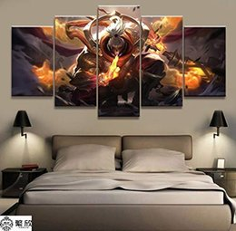 league legends games Australia - (Unframed Framed) League of Legends Jax Game,5 Pieces Canvas Prints Wall Art Oil Painting Home Decor 10x16x2